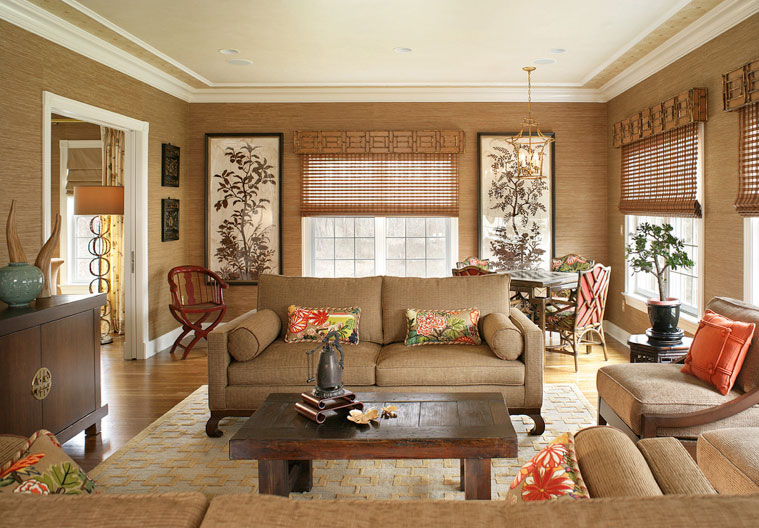 Дизайн гостиной в двух цветах